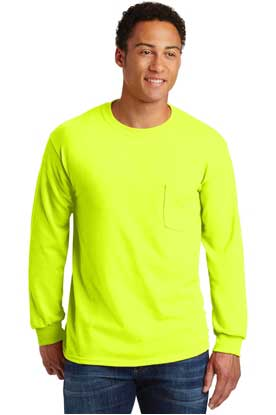 Picture of Gildan ®  - Ultra Cotton ®  100% Cotton Long Sleeve T-Shirt with Pocket.  2410