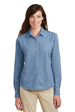 Picture of Port & Company ®  - Ladies Long Sleeve Value Denim Shirt.  LSP10