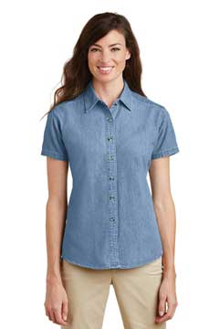 Picture of Port & Company ®  - Ladies Short Sleeve Value Denim Shirt.  LSP11