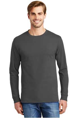 Picture of Hanes ®  - Tagless ®  100% Cotton Long Sleeve T-Shirt.  5586