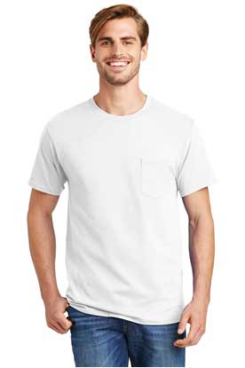 Picture of Hanes ®  - Tagless ®  100%  Cotton T-Shirt with Pocket.  5590