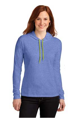 Picture of Anvil ®  Ladies 100% Combed Ring Spun Cotton Long Sleeve Hooded T-Shirt. 887L