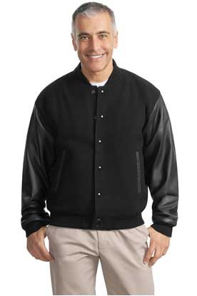 Picture of Port Authority ®  Wool and Leather Letterman Jacket.  J783