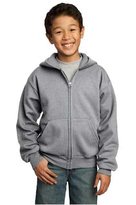 Picture of Port & Company ®  - Youth Core Fleece Full-Zip Hooded Sweatshirt.  PC90YZH