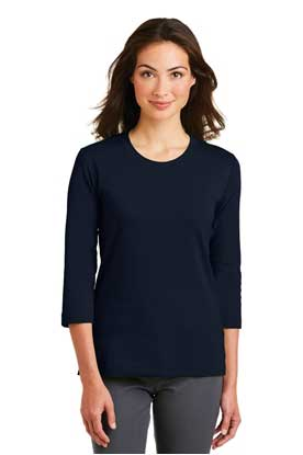 Picture of Port Authority ®  Ladies Modern Stretch Cotton 3/4-Sleeve Scoop Neck Shirt. L517