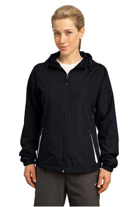 Picture of Sport-Tek ®  Ladies Colorblock Hooded Raglan Jacket. LST76