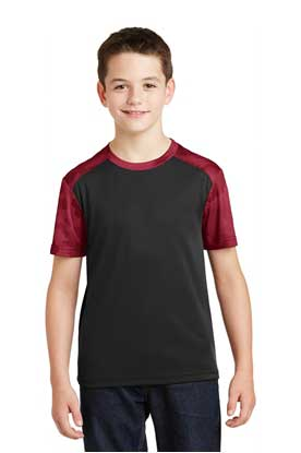 Picture of Sport-Tek ®  Youth CamoHex Colorblock Tee. YST371