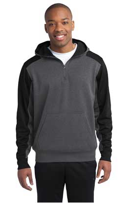 Picture of Sport-Tek ®   Tech Fleece Colorblock 1/4-Zip Hooded Sweatshirt. ST249