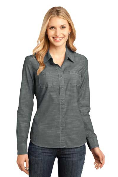 Picture of District Made® - Ladies Long Sleeve Washed Woven Shirt. DM4800