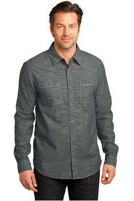 Picture of District Made® - Mens Long Sleeve Washed Woven Shirt. DM3800