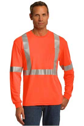 Picture of CornerStone ®  ANSI 107 Class 2 Long Sleeve Safety T-Shirt. CS401LS