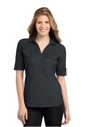 Picture of Port Authority ®  Ladies Oxford Pique Double Pocket Polo. L557
