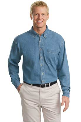 Picture of Port Authority ®  Tall Long Sleeve Denim Shirt. TLS600