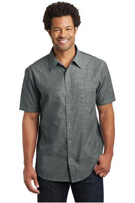 Picture of District Made ®  Mens Short Sleeve Washed Woven Shirt. DM3810