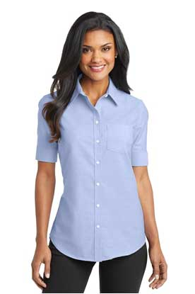 Picture of Port Authority ®  Ladies Short Sleeve SuperPro ™  Oxford Shirt. L659