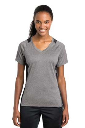 Picture of Sport-Tek ®  Ladies Heather Colorblock Contender ™  V-Neck Tee. LST361