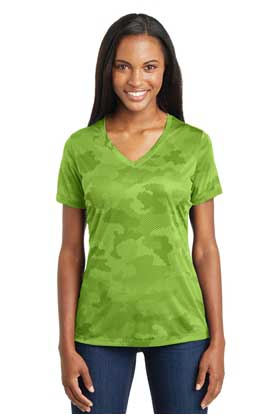 Picture of Sport-Tek ®  Ladies CamoHex V-Neck Tee. LST370