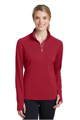 Picture of Sport-Tek ®  Ladies Sport-Wick ®  Textured 1/4-Zip Pullover.  LST860