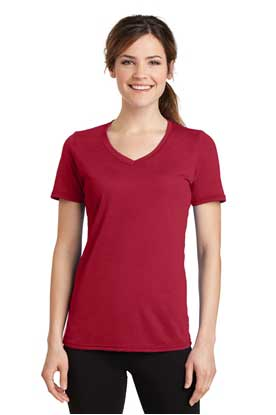 Picture of Port & Company ®  Ladies Performance Blend V-Neck Tee. LPC381V