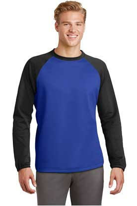 Picture of Sport-Tek ®  Sport-Wick ®  Raglan Colorblock Fleece Crewneck. ST242
