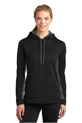 Picture of Sport-Tek ®  Ladies Sport-Wick ®  Fleece Colorblock Hooded Pullover. LST235