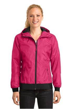 Picture of Sport-Tek ®  Ladies Embossed Hooded Wind Jacket. LST53
