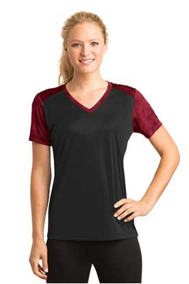 Picture of Sport-Tek ®  Ladies CamoHex Colorblock V-Neck Tee. LST371