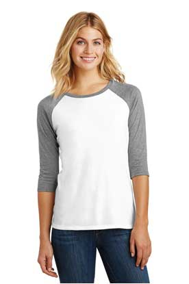 Picture of District Made ®  Ladies Perfect Tri ®  3/4-Sleeve Raglan. DM136L
