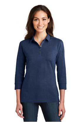 Picture of Port Authority ®  Ladies 3/4-Sleeve Meridian Cotton Blend Polo. L578