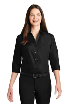 Picture of Port Authority ®  Ladies 3/4-Sleeve Carefree Poplin Shirt. LW102