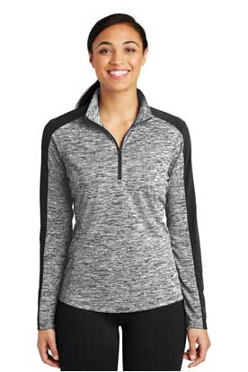 Picture of Sport-Tek ®  Ladies PosiCharge ®  Electric Heather Colorblock 1/4-Zip Pullover. LST397