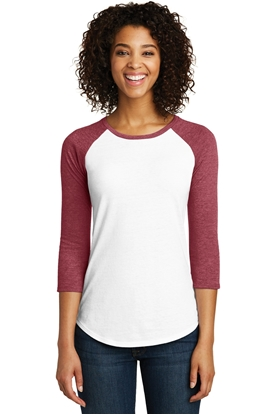 Picture of District ®  Juniors Very Important Tee ®  3/4-Sleeve Raglan. DT6211