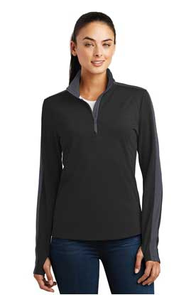Picture of Sport-Tek ®  Ladies Sport-Wick ®  Textured Colorblock 1/4-Zip Pullover. LST861