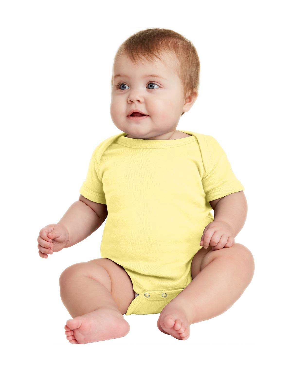 Picture of Rabbit Skins ™  Infant Short Sleeve Baby Rib Bodysuit. RS4400