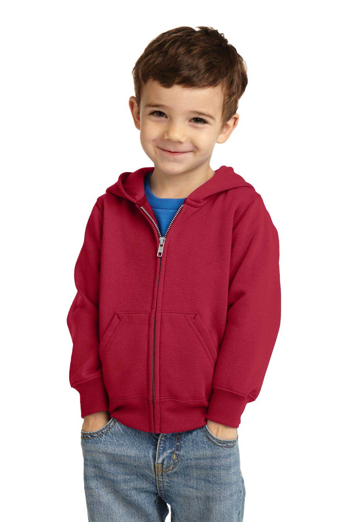 Picture of Port & Company ®  Toddler Core Fleece Full-Zip Hooded Sweatshirt. CAR78TZH