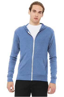 Picture of BELLA+CANVAS  ®  Unisex Triblend Full-Zip Lightweight Hoodie. BC3939