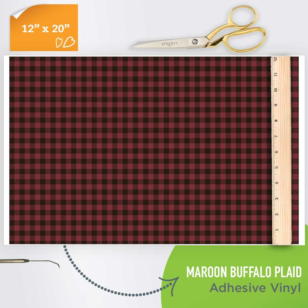 Picture of Happy Crafters Pattern Adhesive Vinyl - Maroon Plaid
