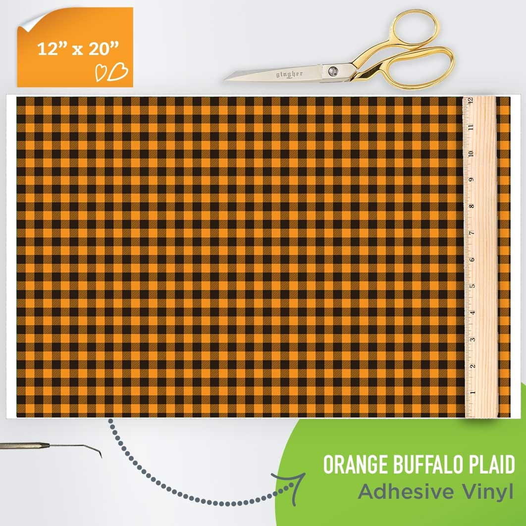 Picture of Happy Crafters Pattern Adhesive Vinyl - Orange Plaid