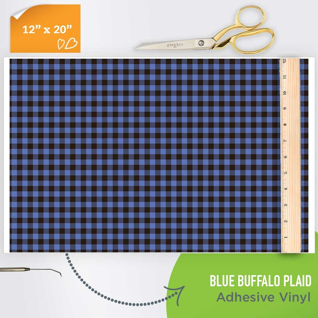 Picture of Happy Crafters Pattern Adhesive Vinyl - Blue Plaid
