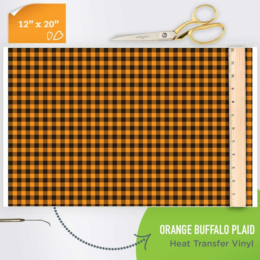 Picture of Happy Crafters Pattern HTV - Orange Plaid