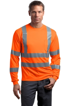 CornerStone ®  - ANSI 107 Class 3 Long Sleeve Snag-Resistant Reflective T-Shirt. CS409