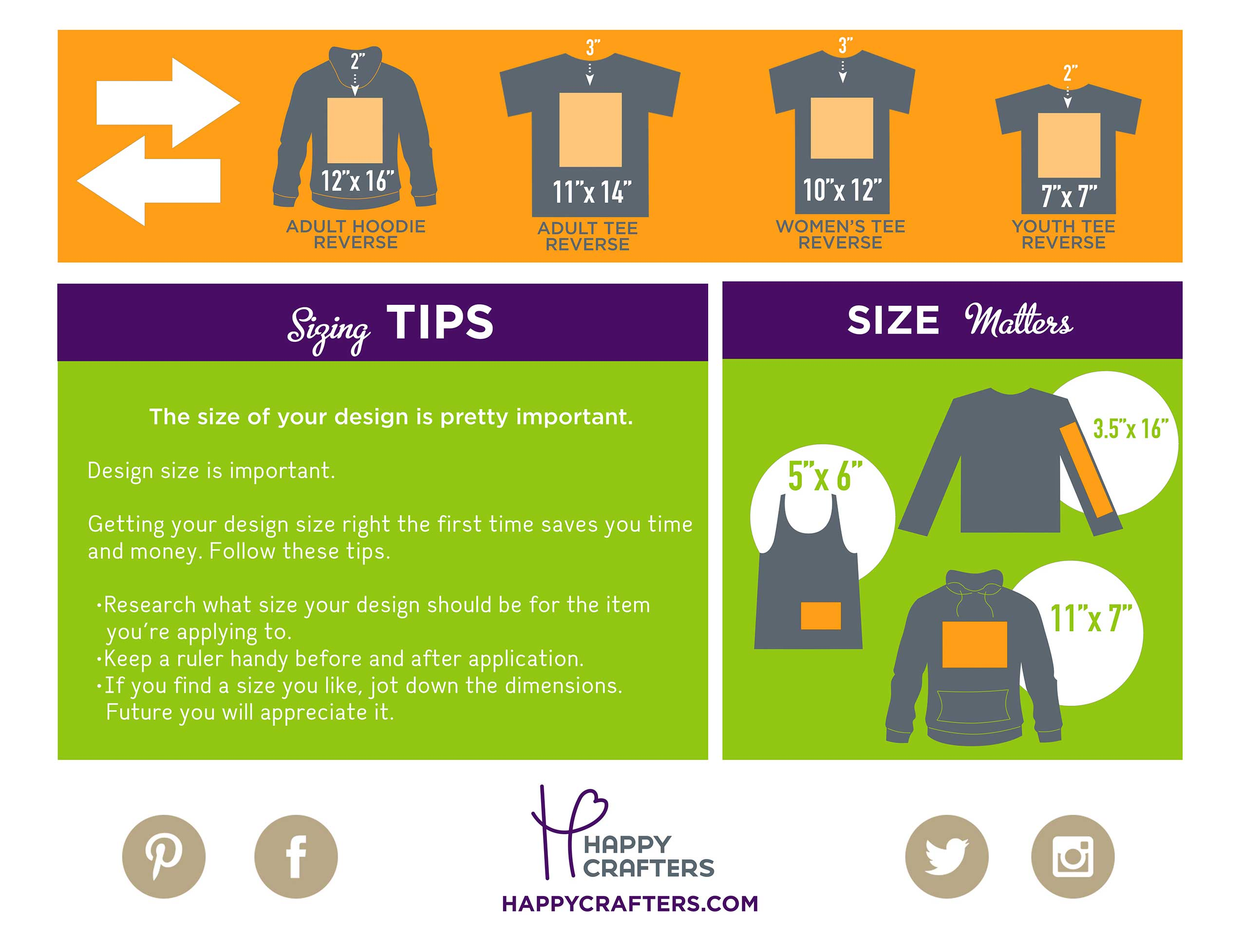 Free Vinyl Sizing Guide | HTV | Happy Crafters